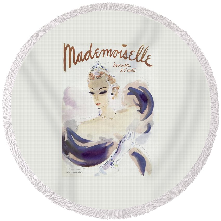 Fashion Round Beach Towel featuring the photograph Mademoiselle Cover Featuring A Woman In A Gown by Helen Jameson Hall