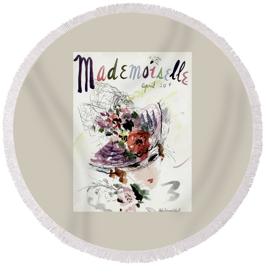 Fashion Round Beach Towel featuring the photograph Mademoiselle Cover Featuring An Illustration by Helen Jameson Hall