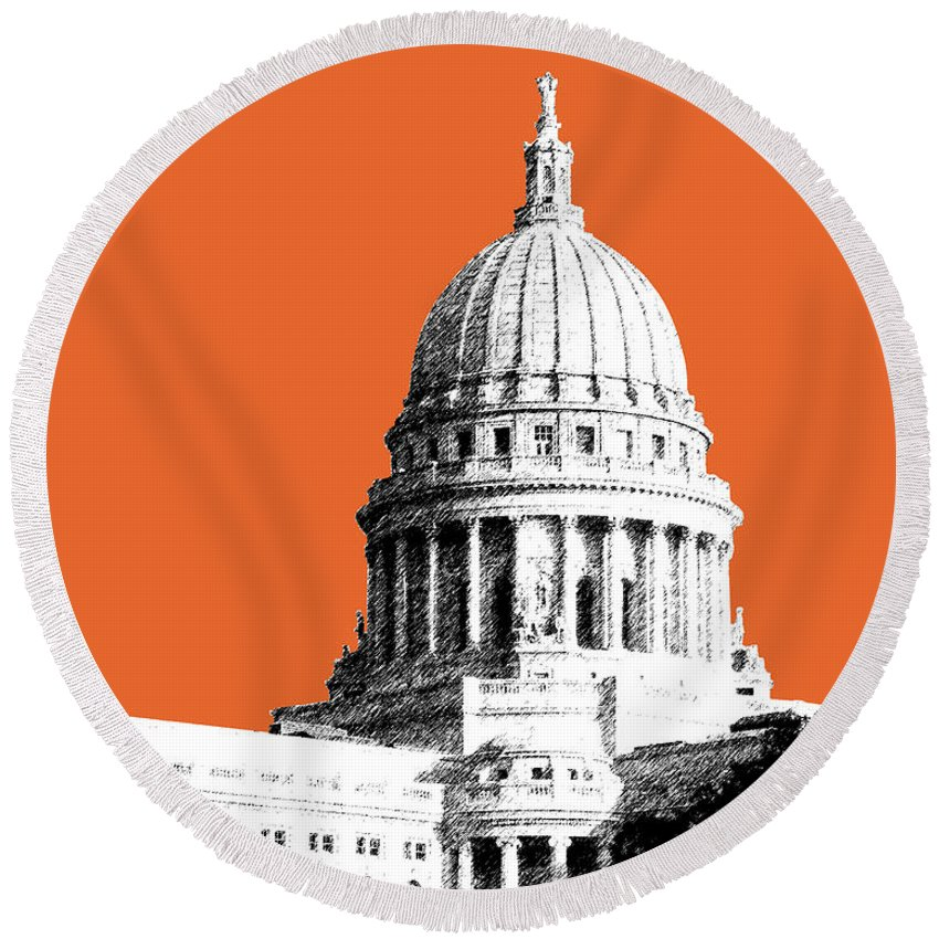 Architecture Round Beach Towel featuring the digital art Madison Capital Building - Coral by DB Artist