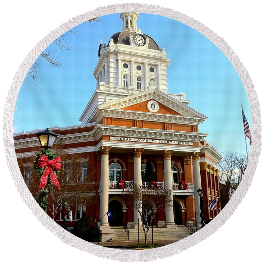 Historical Building Round Beach Towel featuring the photograph Madison's Morgan County Courthouse by Denise Mazzocco