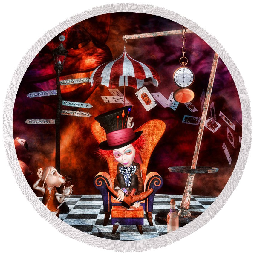 Wonderland Round Beach Towel featuring the digital art Madness In The Hatter's Realm by Putterhug Studio
