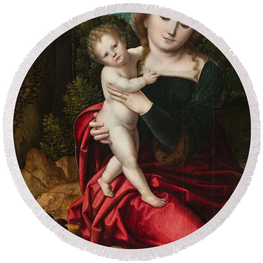Mary Round Beach Towel featuring the painting Madonna And Child by Master of the Parrot