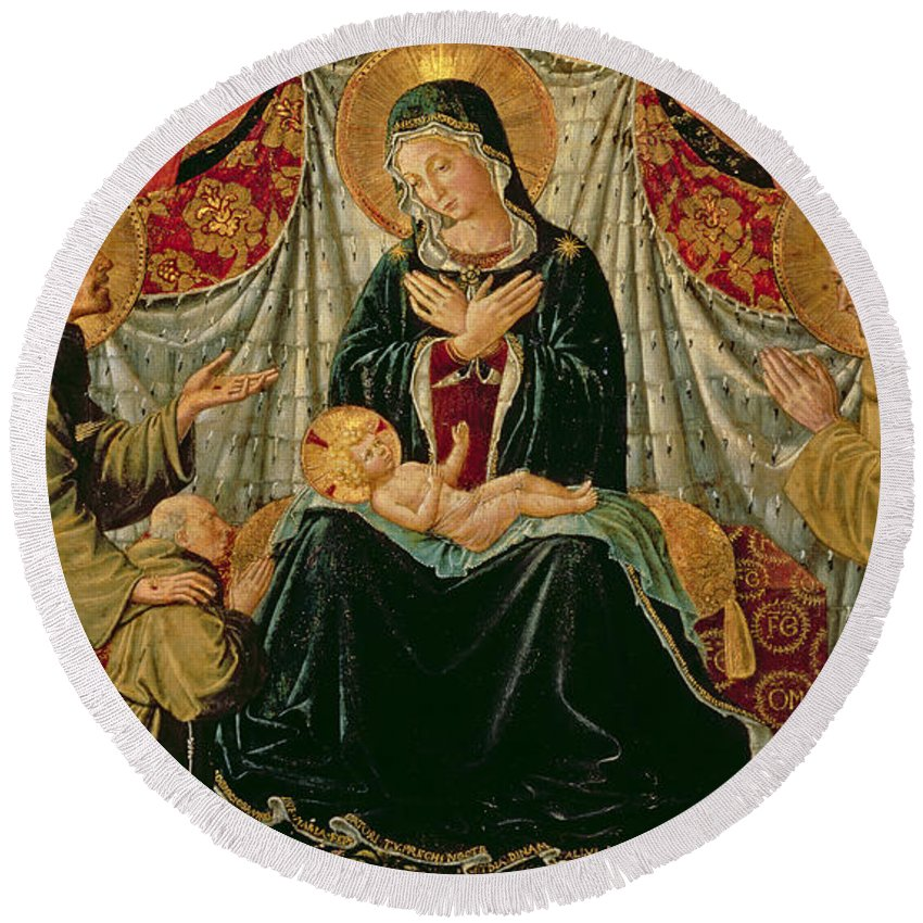 Renaissance Round Beach Towel featuring the painting Madonna And Child With St Francis And The Donor Fra Jacopo Da Montefalco Left And St Bernardino by Benozzo di Lese di Sandro Gozzoli