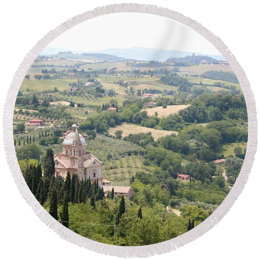 Pilgrimage Church Round Beach Towel featuring the photograph Madonna Di San Biagio Tuscany by Christiane Schulze Art And Photography