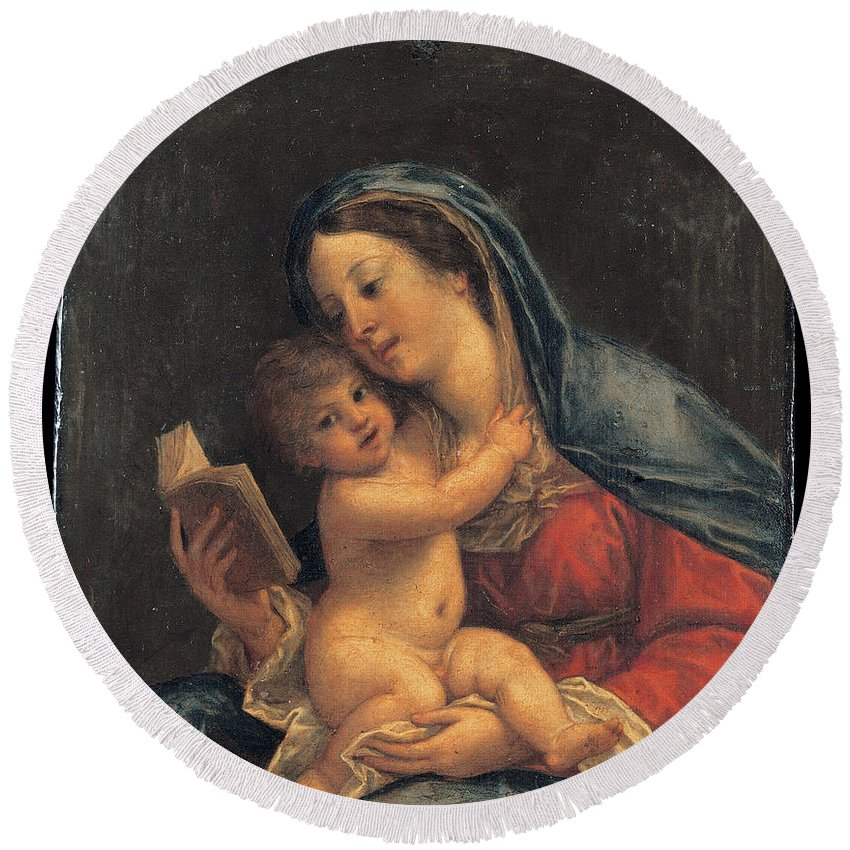 Francesco Albani Round Beach Towel featuring the painting Madonna With The Child by Francesco Albani