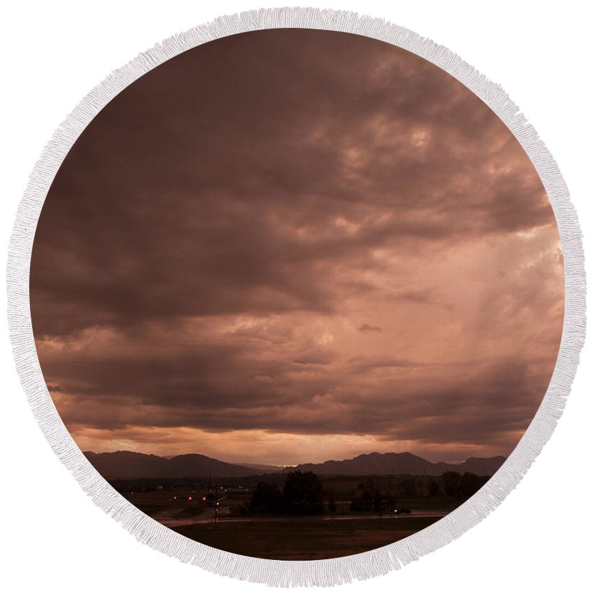 Magenta Round Beach Towel featuring the photograph Magenta Clouds by Marilyn Hunt