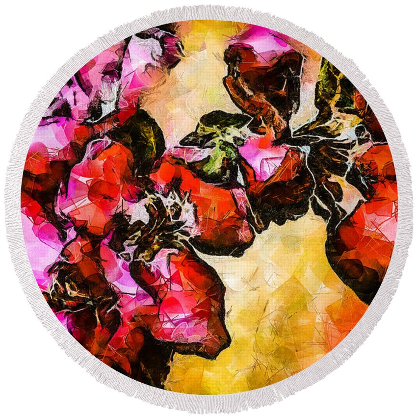 Magenta Round Beach Towel featuring the digital art Magenta Flowers -- Cubism by Charles Muhle
