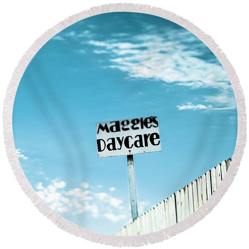 Business Round Beach Towel featuring the photograph Maggie's Daycare by Yo Pedro
