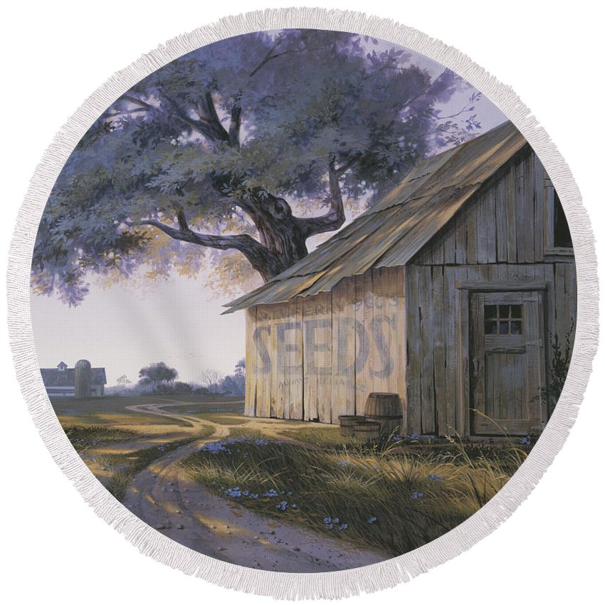 Michael Humphries Round Beach Towel featuring the painting Magic Hour by Michael Humphries