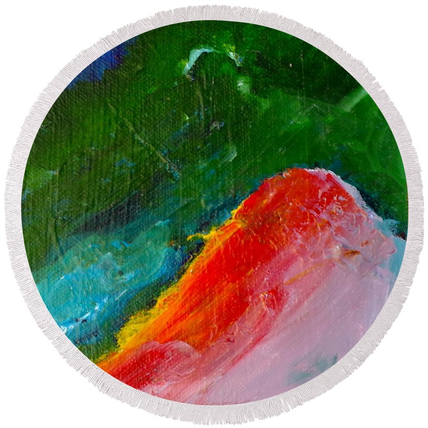 Acrylic Round Beach Towel featuring the painting Magic Mountain by Kimberly Maxwell Grantier
