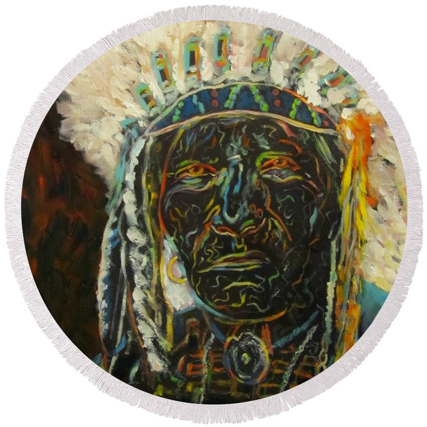 Portrait Round Beach Towel featuring the painting Magic Powers, Native American Indian Chief by Sandra Reeves