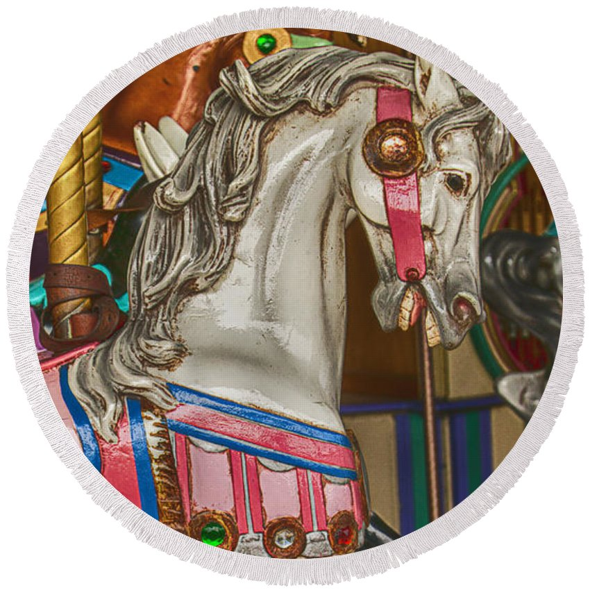 Magical Carousel Round Beach Towel featuring the photograph Magical Carrsoul Horse by Garry Gay