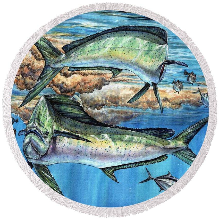 Mahi Mahi Round Beach Towel featuring the painting Magical Mahi Mahi Sargassum by Terry Fox