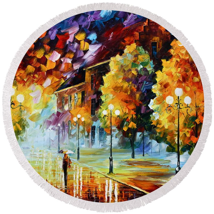 City Round Beach Towel featuring the painting Magical Time by Leonid Afremov