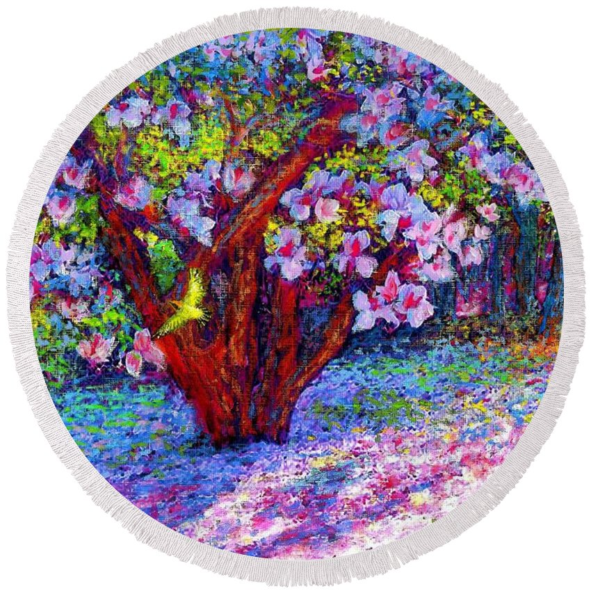 Sun Round Beach Towel featuring the painting Magnolia Melody by Jane Small