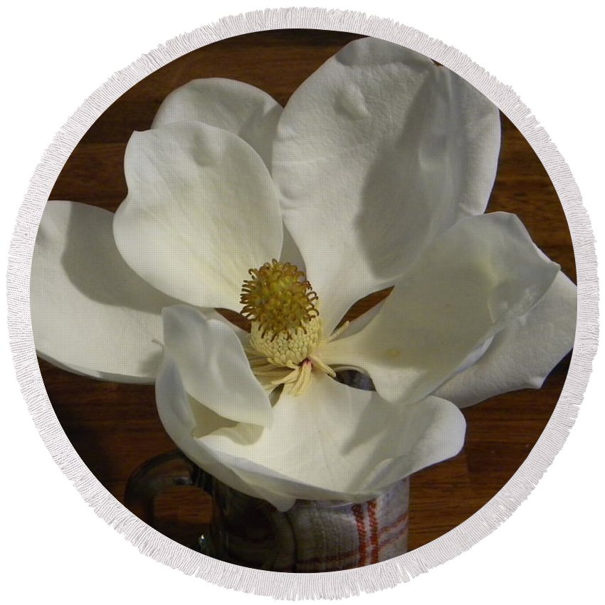 Magnolia Round Beach Towel featuring the photograph Magnolia Still 1 by Nathanael Smith