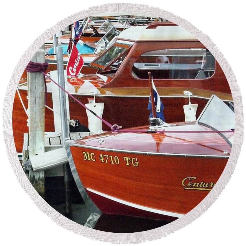Century Boat Round Beach Towel featuring the photograph Mahogany by Neil Zimmerman