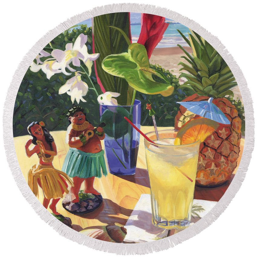 Mai Tai Round Beach Towel featuring the painting Mai Tai by Steve Simon