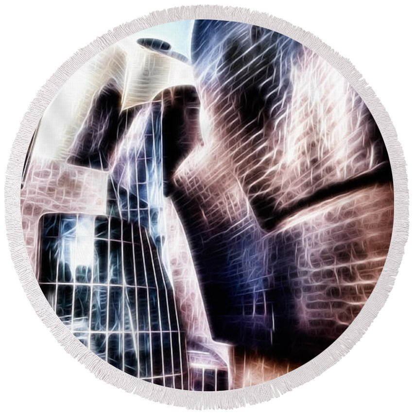 Guggenheim Round Beach Towel featuring the photograph Main Entrance Of Guggenheim Bilbao Museum In The Basque Country Fractal by Weston Westmoreland
