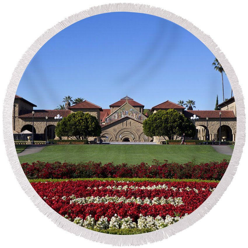 Stanford University Round Beach Towel featuring the photograph Main Quad Stanford California by Jason O Watson