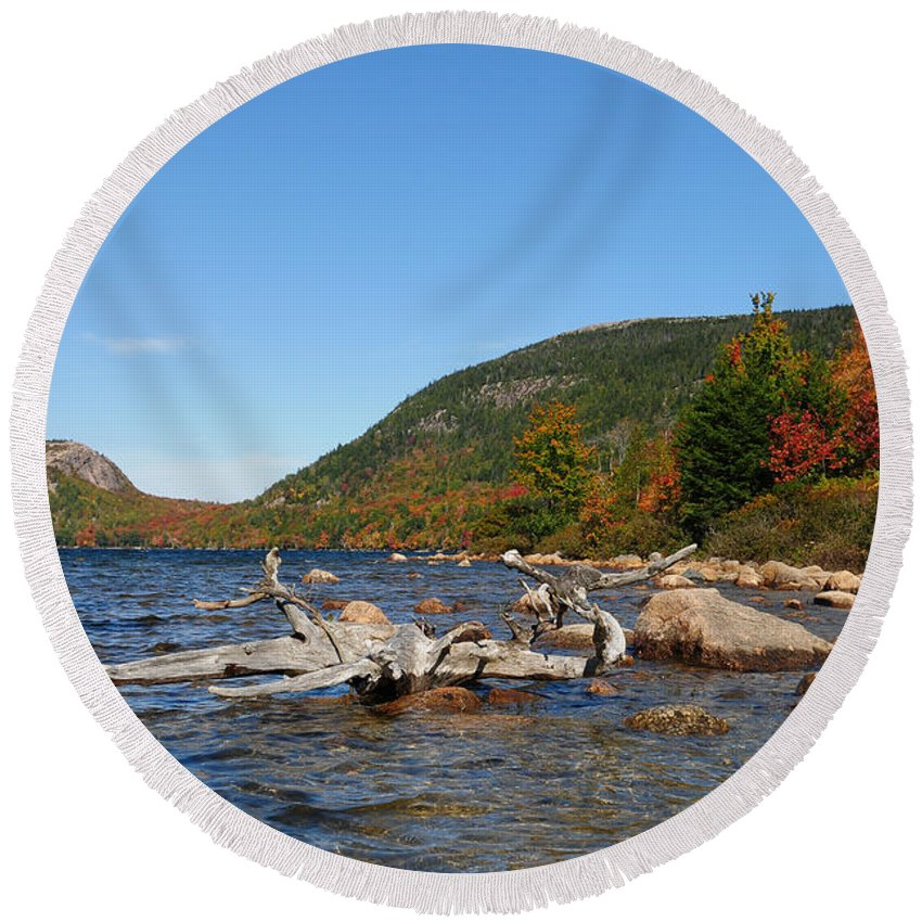 Fall Foliage Round Beach Towel featuring the photograph maine 1 Acadia National Park Jordan Pond in Fall by Terri Winkler