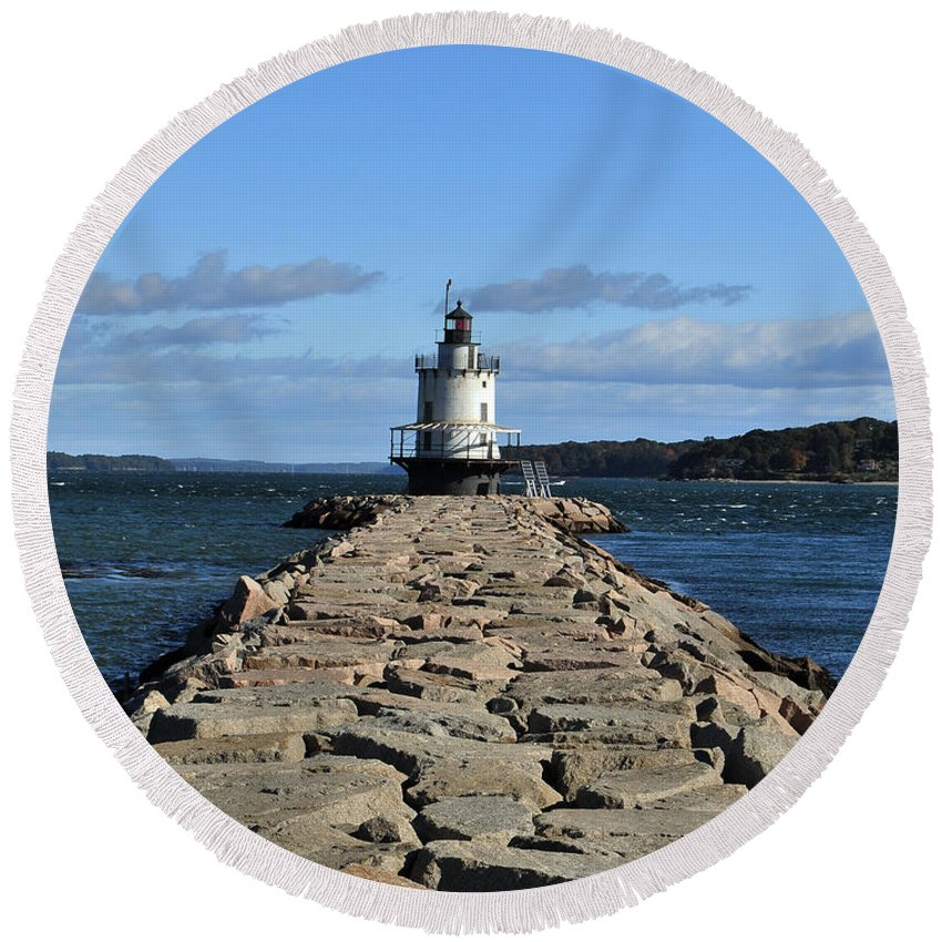 Lighthouse Round Beach Towel featuring the photograph maine 43 Portland Lighthouse by Terri Winkler