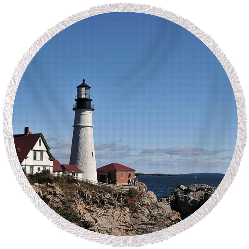 Lighthouse Round Beach Towel featuring the photograph Maine 45 by Terri Winkler