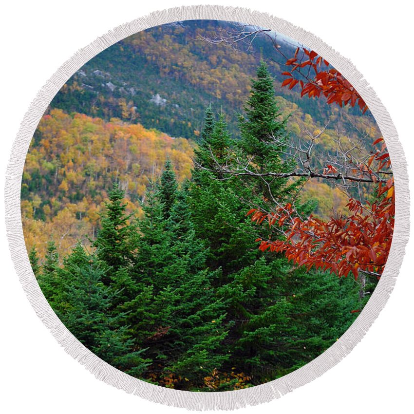 Maine Round Beach Towel featuring the photograph maine 57 Baxter State Park Loop Road Fall Foliage by Terri Winkler