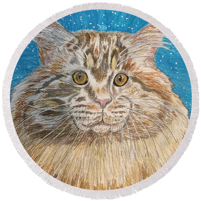 Maine Round Beach Towel featuring the painting Maine Coon Cat by Kathy Marrs Chandler