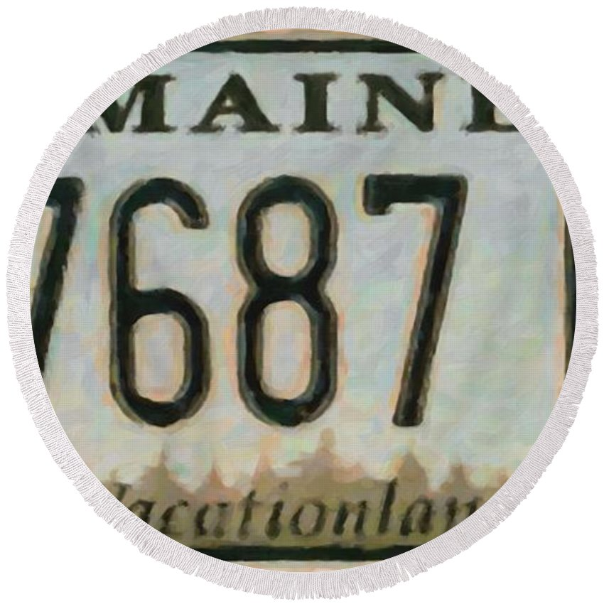 Maine License Plate.bug Round Beach Towel featuring the painting Maine License Plate by Jeelan Clark