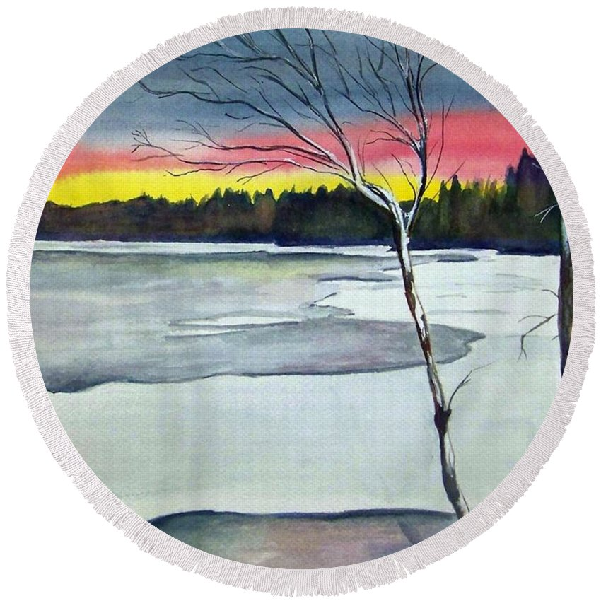 Landscape Round Beach Towel featuring the painting Maine Winter Sunset by Brenda Owen