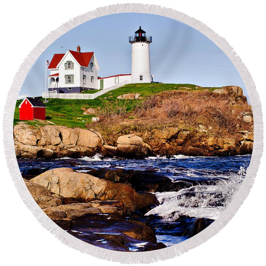 Nubble Light Round Beach Towel featuring the photograph Maine's Nubble Light by Mitchell R Grosky