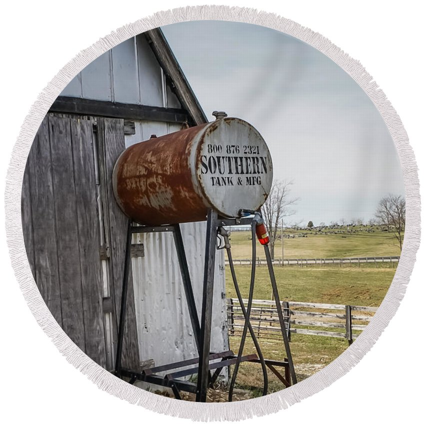 Barns Round Beach Towel featuring the photograph Barn - Maintenance by Catherine Balfe