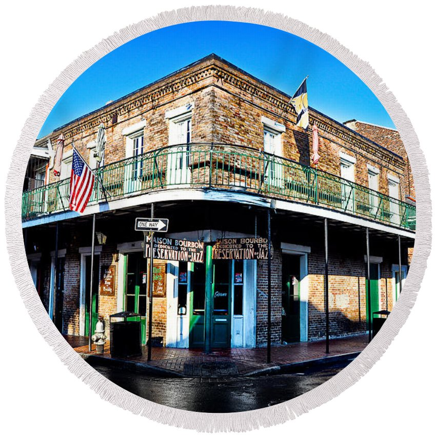 Maison Round Beach Towel featuring the photograph Maison Bourbon - New Orleans by Bill Cannon