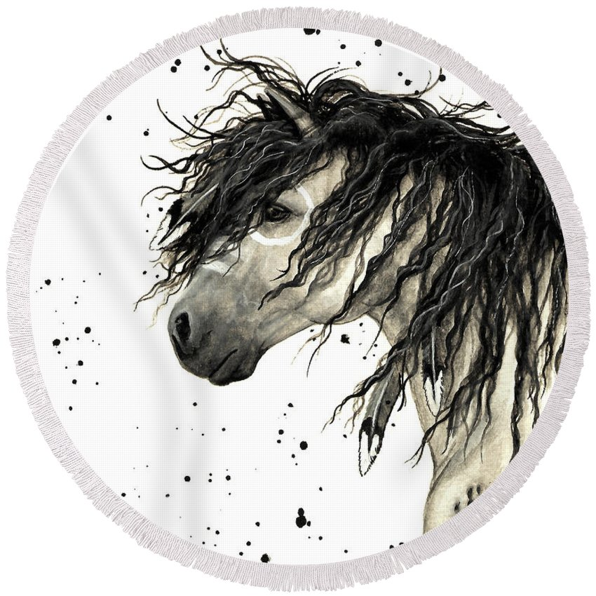 Mustang Horse Art Round Beach Towel featuring the painting Majestic Grey Spirit Horse #44 by AmyLyn Bihrle