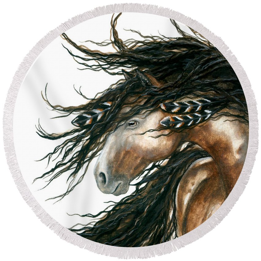 Horse Round Beach Towel featuring the painting Majestic Pinto Horse 80 by AmyLyn Bihrle