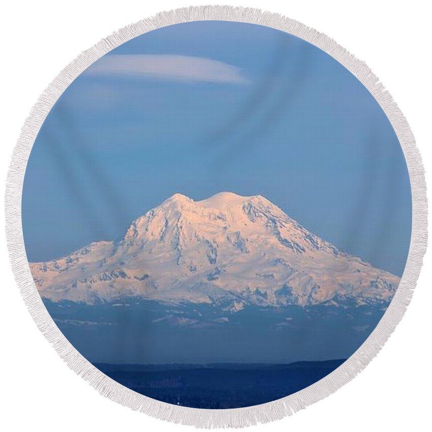 Mt Rainier Round Beach Towel featuring the photograph Majestic Mt. Rainier by Jeanette C Landstrom