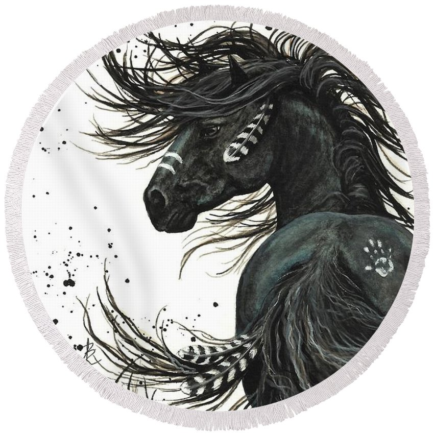 Horse Portrait Paintings Round Beach Towels