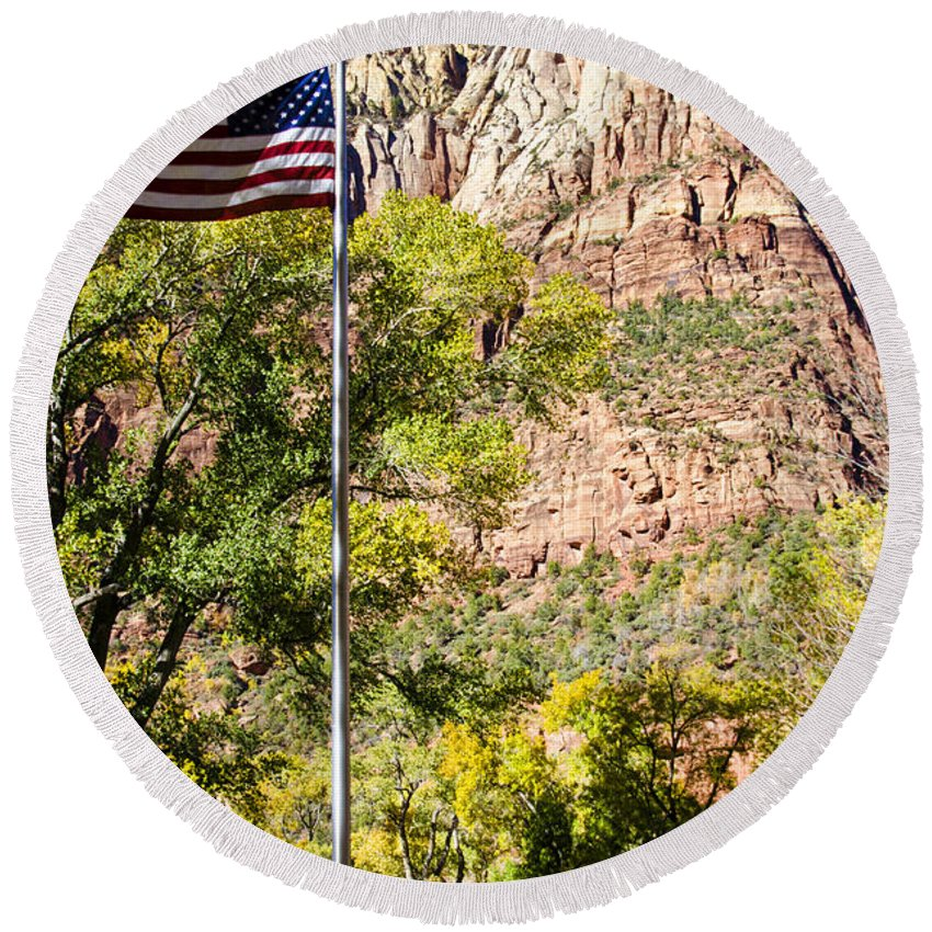 Zion National Park Utah Round Beach Towel featuring the photograph Majestic Sight - Zion National Park by Jon Berghoff