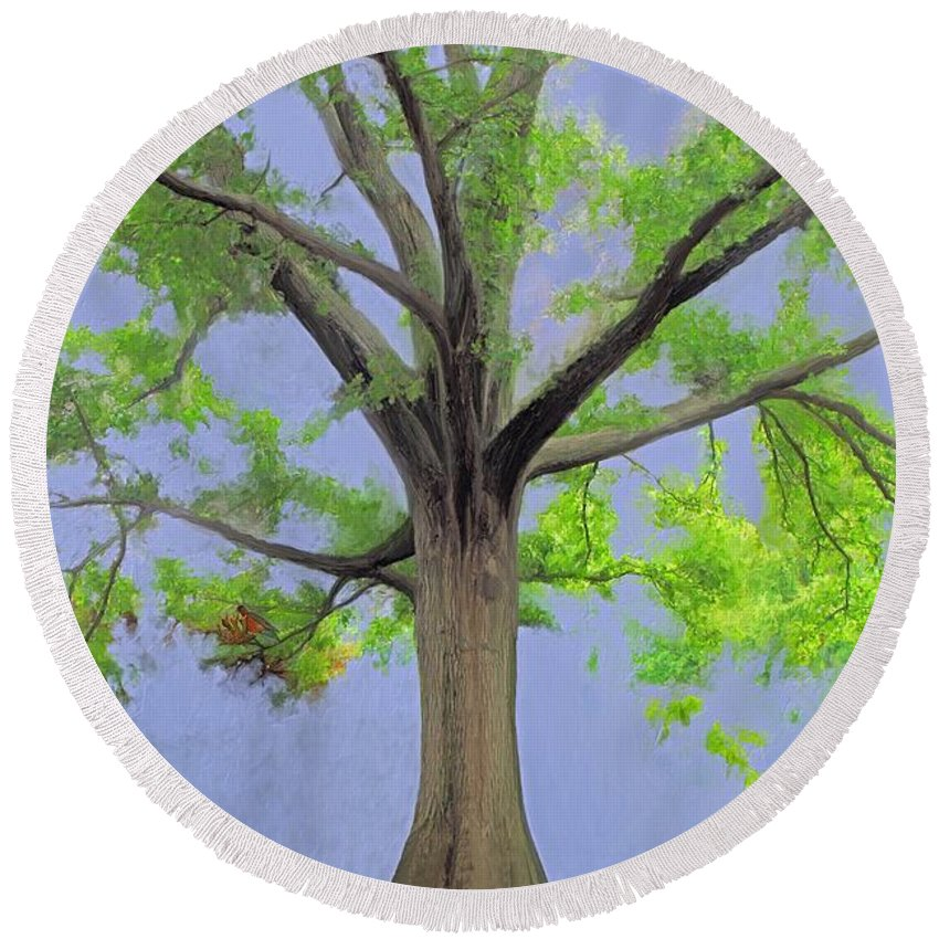 Painting Of Tree Round Beach Towel featuring the painting Majestic Tree With Birds Nest by Susanna Katherine