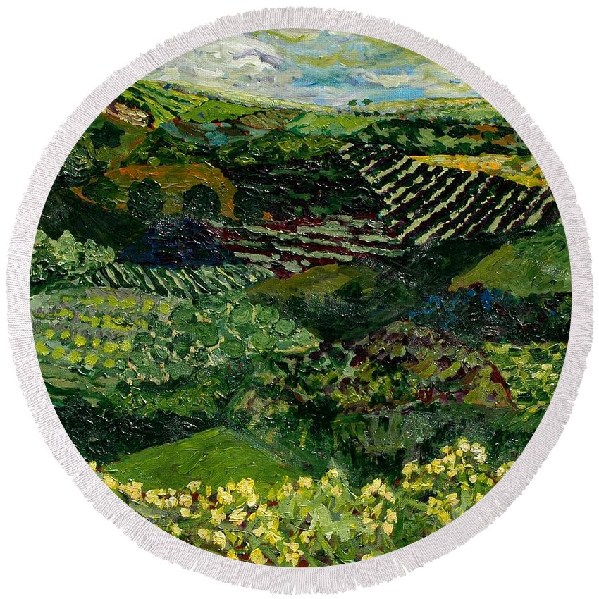 Landscape Round Beach Towel featuring the painting Majestic Valley by Allan P Friedlander
