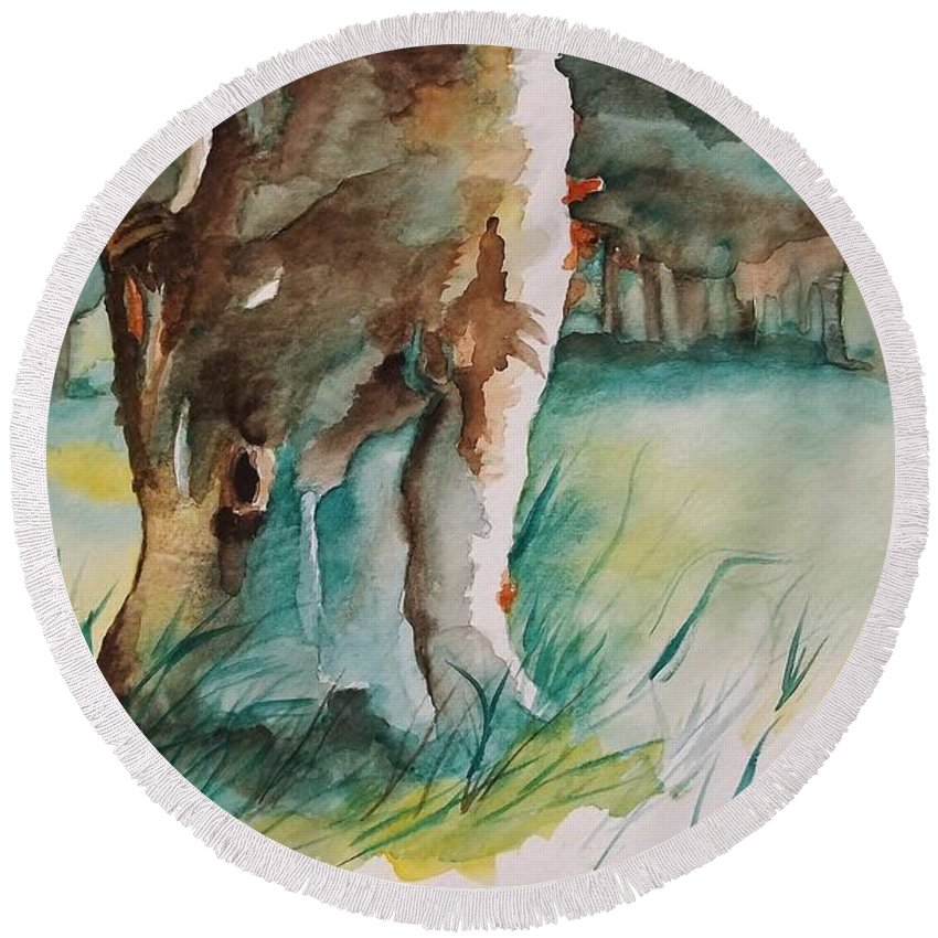 Majestic Tree Round Beach Towel featuring the painting Majestueux by Lise PICHE
