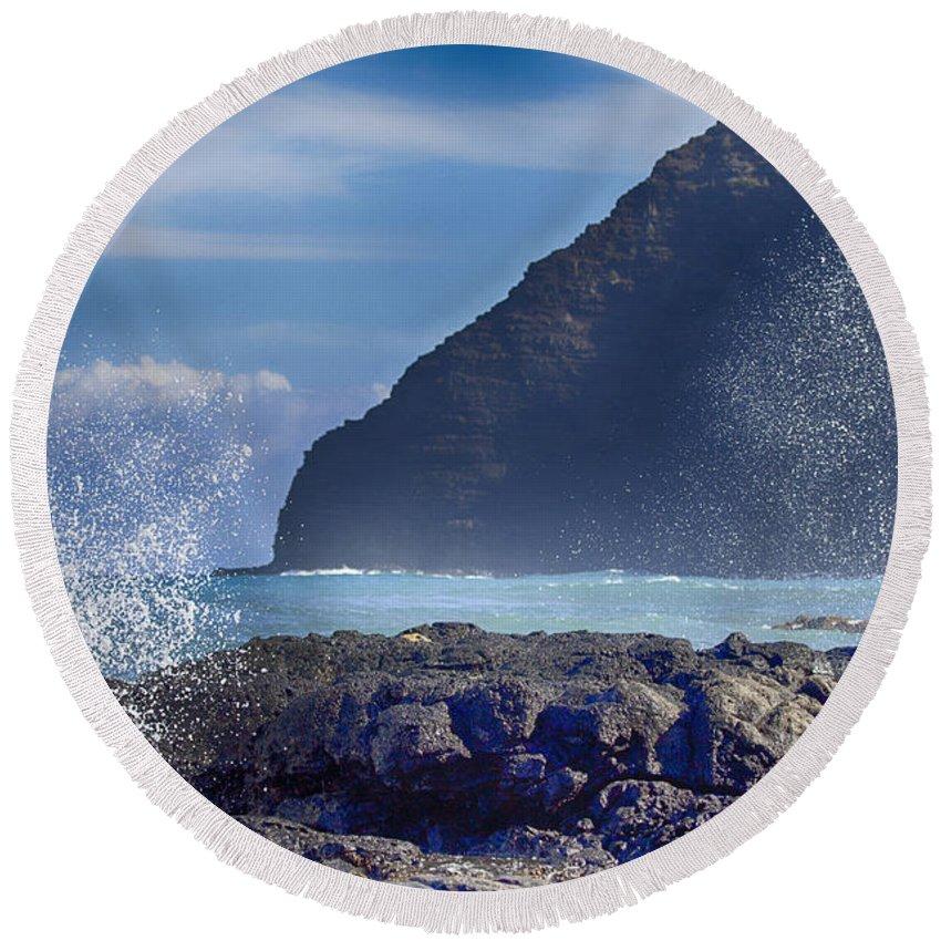 Makapu'u Point Lighthouse Round Beach Towel featuring the photograph Makapuu Point Lighthouse- Oahu Hawaii V2 by Douglas Barnard