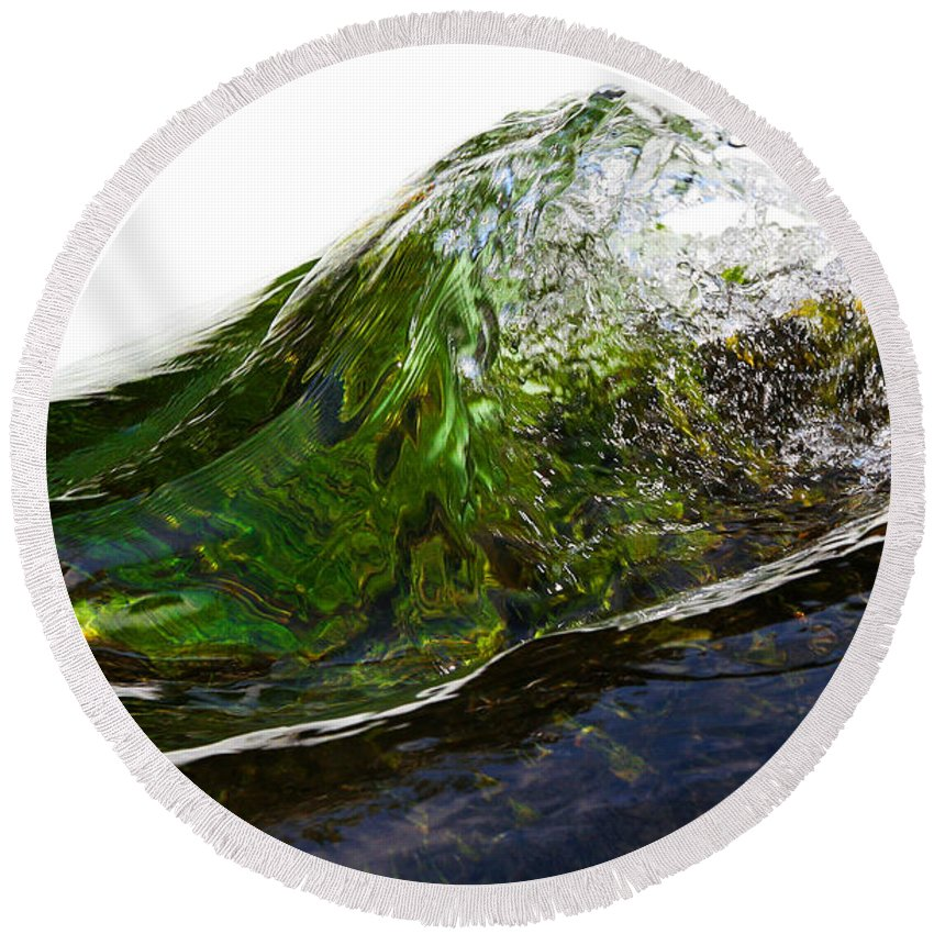 Bear Hole Round Beach Towel featuring the photograph Malachite Water #2 by Robert Woodward