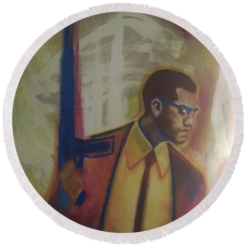 Protection Round Beach Towel featuring the painting Necessary Means Of Malcolm X by Mannaah Blackwell