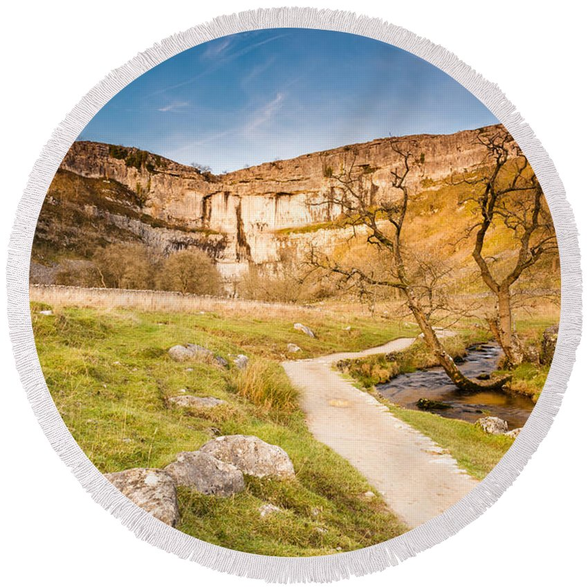 Attraction Round Beach Towel featuring the photograph Malham Cove In Malhamdale by David Head