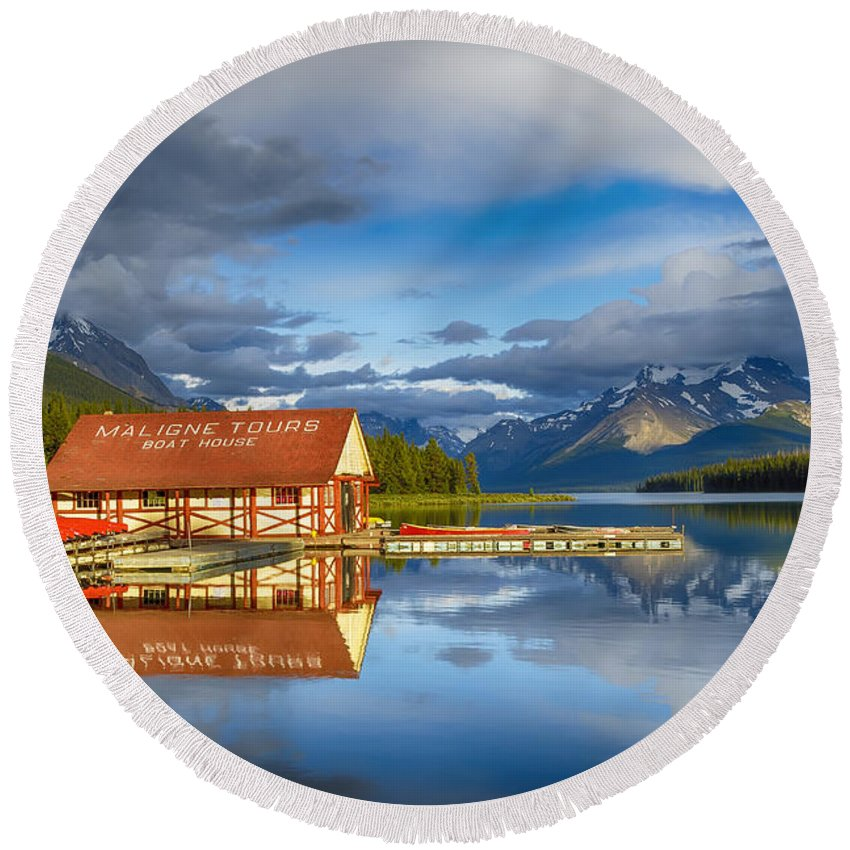 Mountain Round Beach Towel featuring the photograph Maligne Boat House by Mary Jo Allen