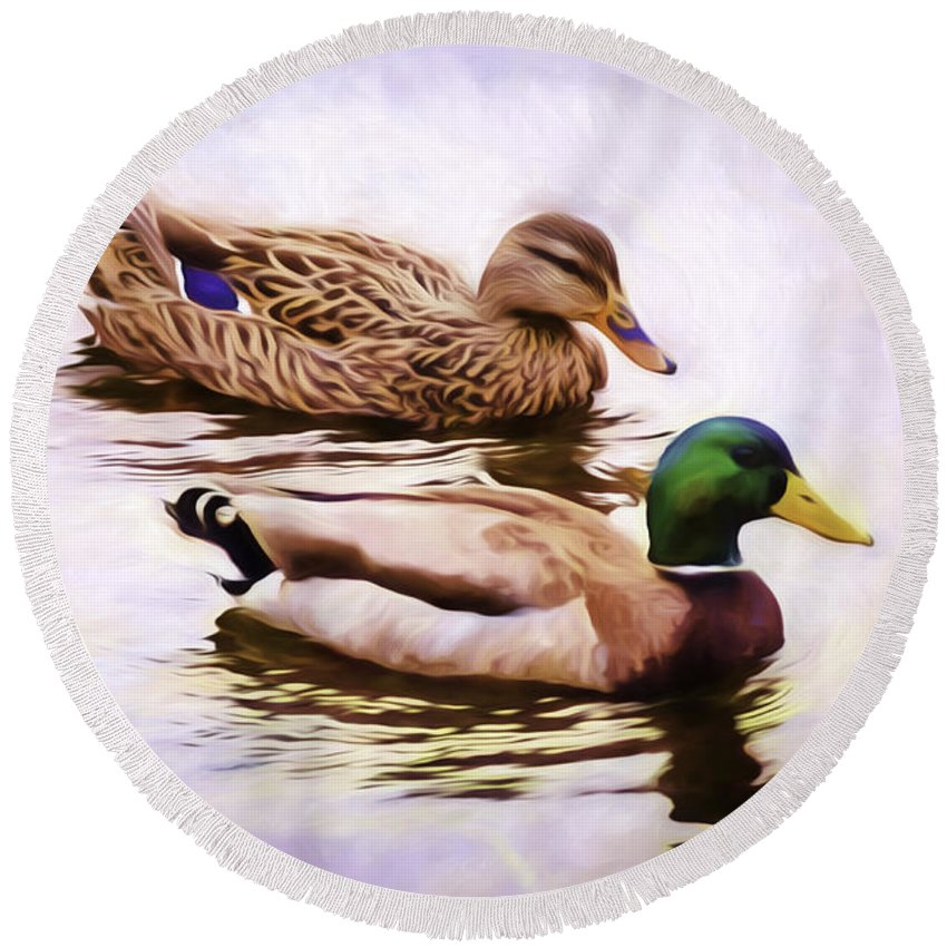 Duck Round Beach Towel featuring the photograph Mallards by Joe Geraci