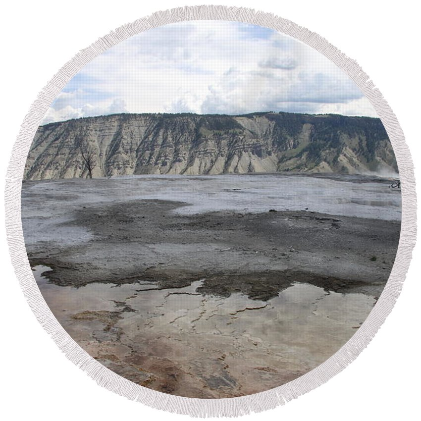 Mammoth Hot Spring Round Beach Towel featuring the photograph Mammoth Hot Spring Landscape by Christiane Schulze Art And Photography