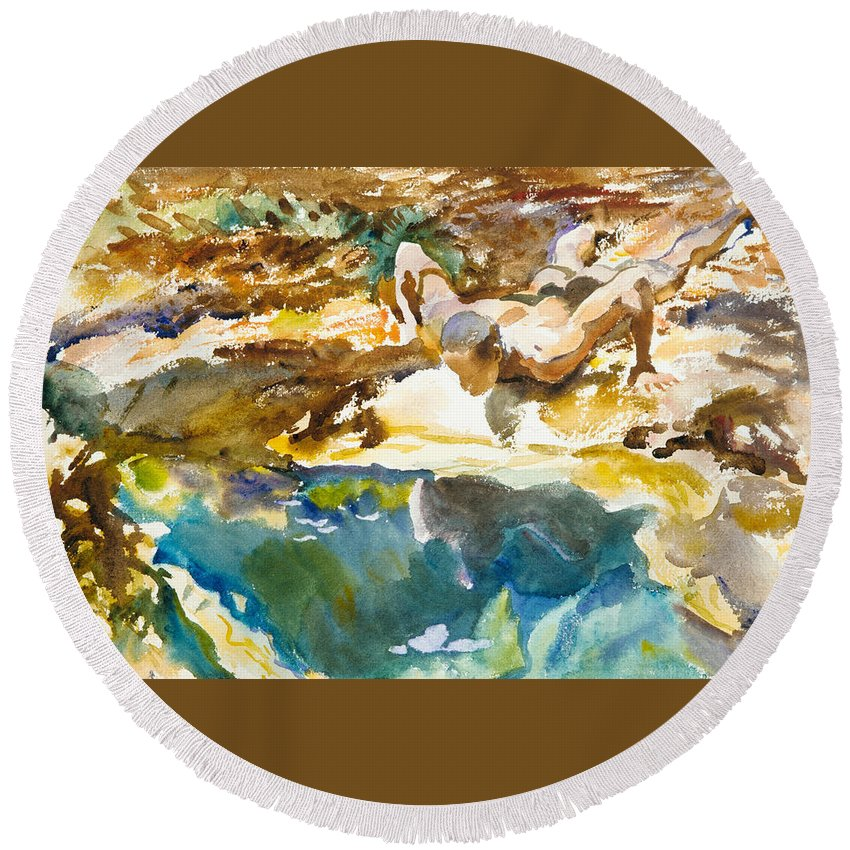 John Singer Sargent Round Beach Towel featuring the painting Man And Pool. Florida by John Singer Sargent